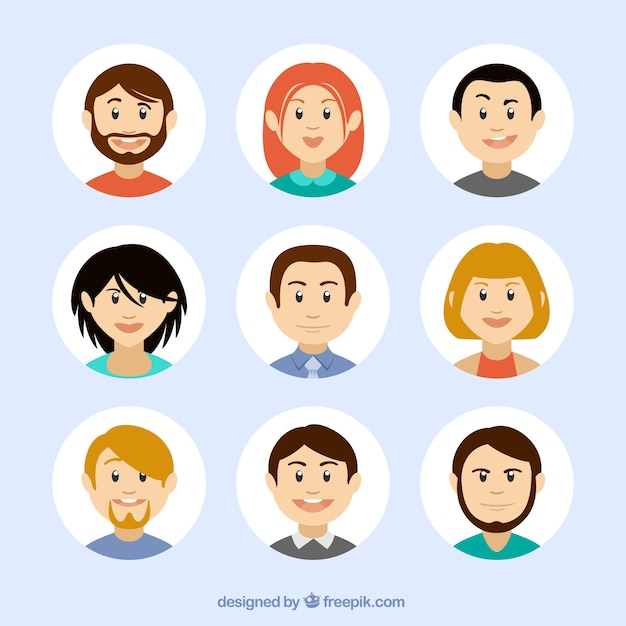 Avatars in cartoon style Free Vector