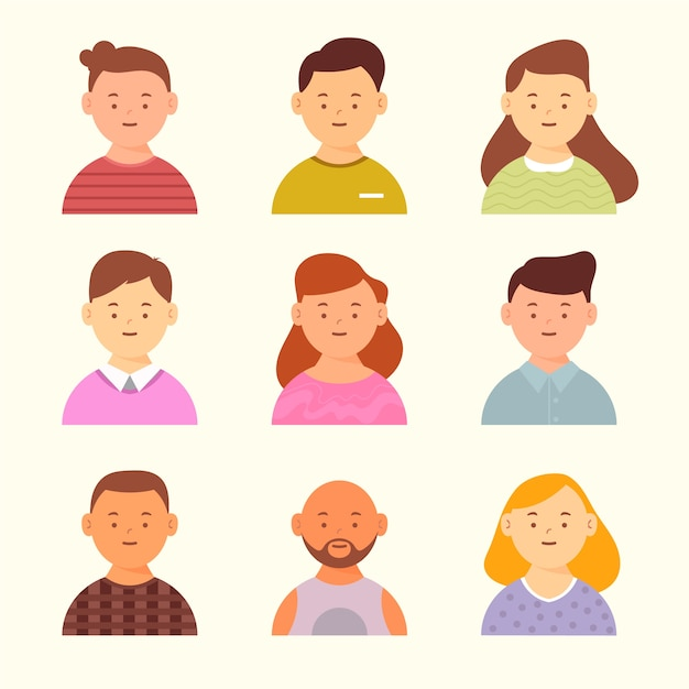 Avatars design for different men and women Free Vector