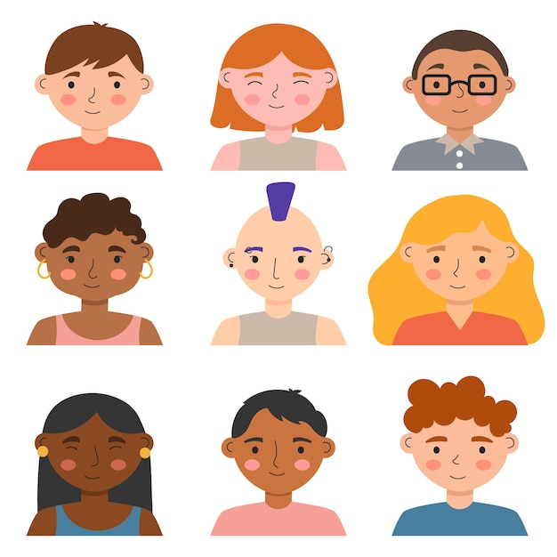 Avatars design for different people Free Vector