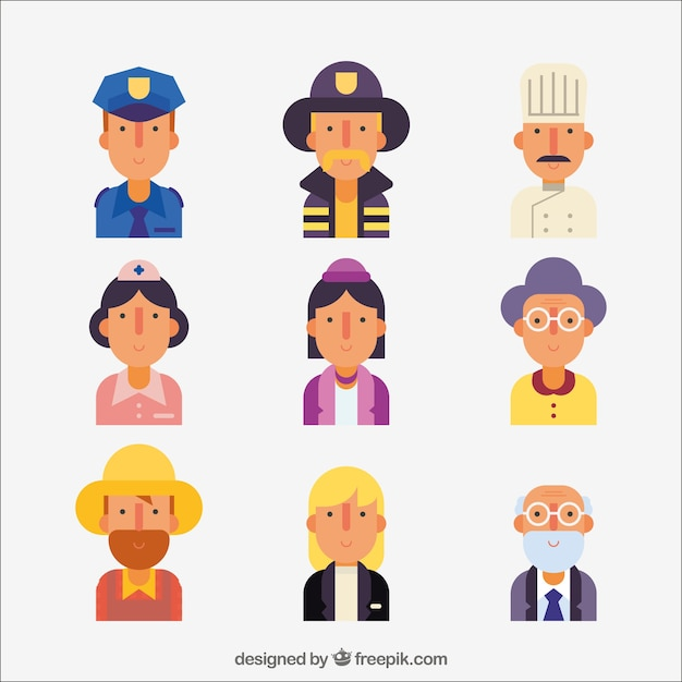 Avatars of different professions with flat\ design