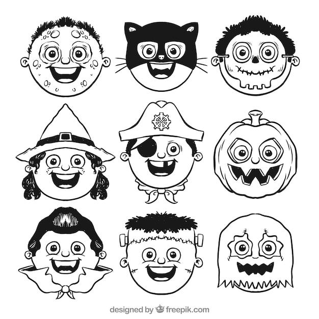 Avatars of hand drawn children halloween\ costumes