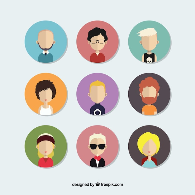 Avatars pack of people in flat design