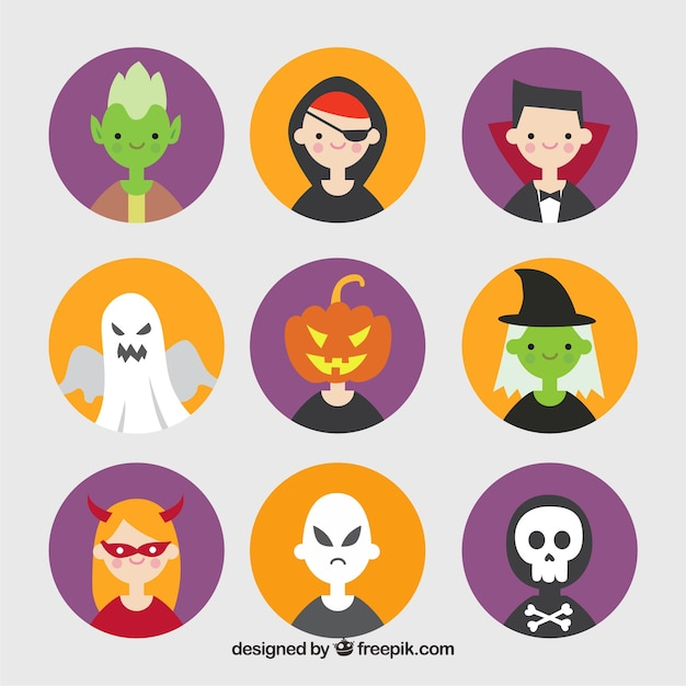 Avatars pack with halloween costumes in flat design Free Vector