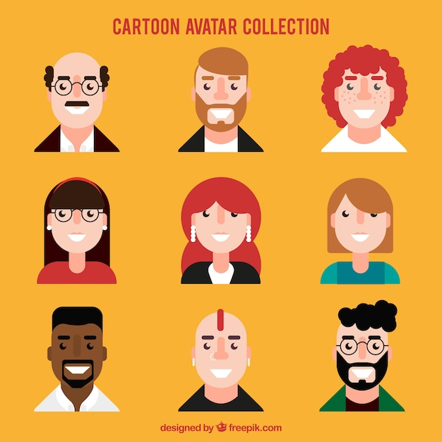 Avatars set of people in flat design