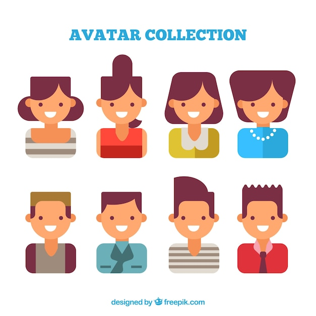 Avatars set of women and men in flat\ design