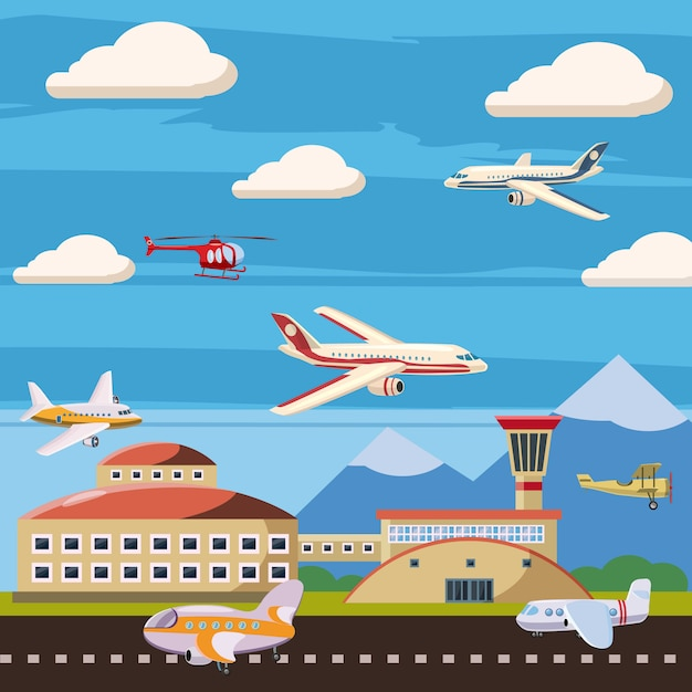 Aviation airport echelon concept. cartoon illustration of aviation airport echelon background Premium Vector