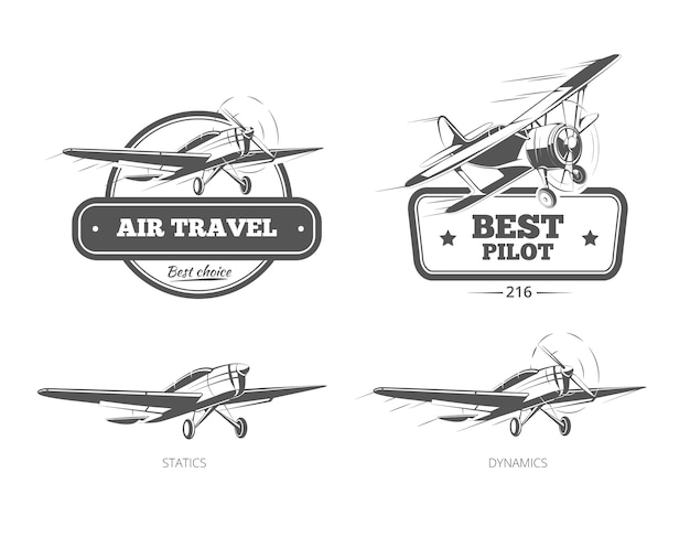 Aviation badges logos and emblems labels. aircraft and plane, pilot and travel, vector illustration Free Vector