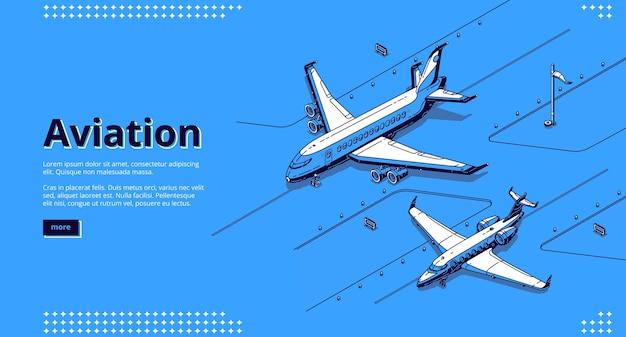 Авиационный баннер. изометрические белые самолеты на взлетно-посадочной полосе в аэропорту на синем Бесплатные векторы