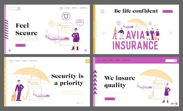 Набор шаблонов целевой страницы авиационного страхования, защиты жизни и здоровья Premium векторы
