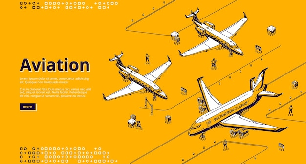 Aviation isometric landing page. Free Vector
