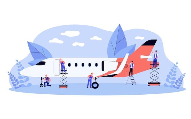 飛行機に取り組んでいる航空サービスチーム。整備士と修理を行うオーバーオールの男性は飛行機で動作します。格納庫、航空機整備の概念図 Premiumベクター
