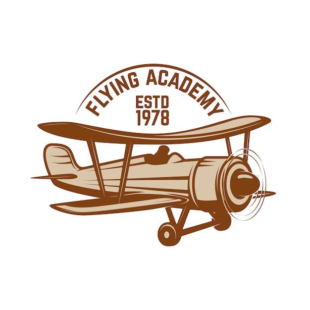 レトロな飛行機と航空トレーニングセンターエンブレムテンプレート。ロゴ、ラベル、エンブレム、記号の要素。図 Premiumベクター
