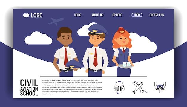 Веб-страница авиации летный экипаж стюардесса пилот люди, путешествующие Premium векторы