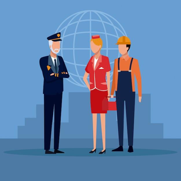 Aviation workers cartoons Premium Vector