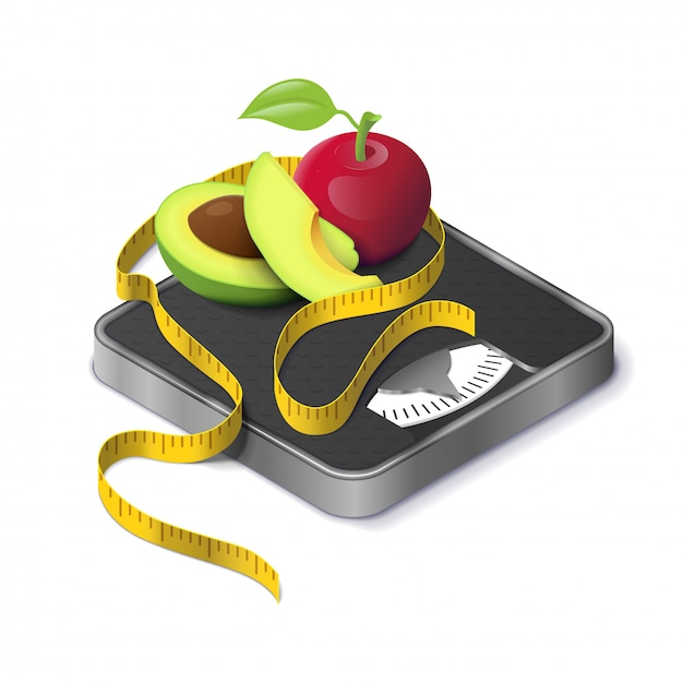 Avocado, apple and measure tape on weight scale isometric realistic. concept fitness weight lose and diet Premium Vector