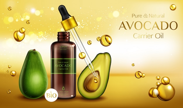 Avocado cosmetics oil. organic beauty product bottle with pipette on blurred with oily drops. Free Vector