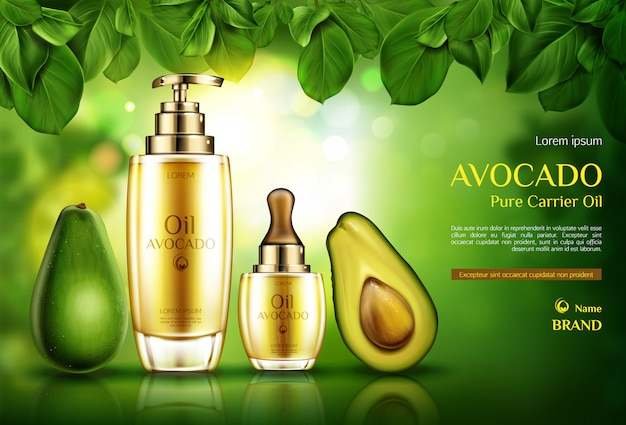 Avocado cosmetics oil. organic product bottles with pomp and dropper on green with tree leaves. Free Vector