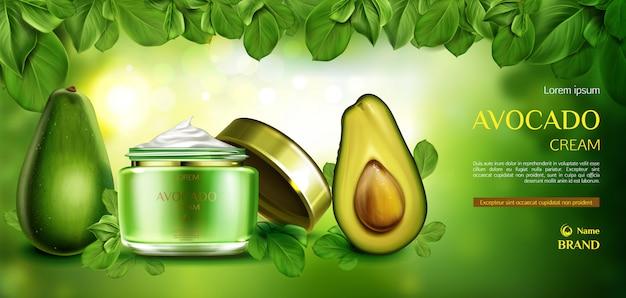 Crema cosmetica per la cura della pelle di avocado. Vettore gratuito