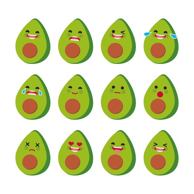 Avocado facial expressions collection Free Vector