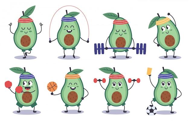 아보카도 피트니스. 재미있는 낙서 아보카도 문자 스포츠, 명상, 축구, 스포츠 아보카도 마스코트 그림 아이콘을 설정합니다. 아보카도 만화 음식, 건강 과일 건강 프리미엄 벡터