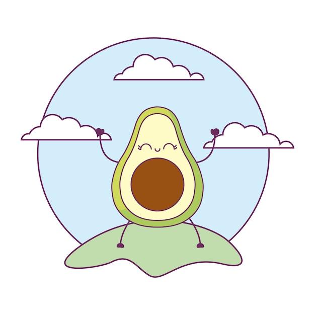 Avocado healthy kawaii in landscape Vector | Premium Download