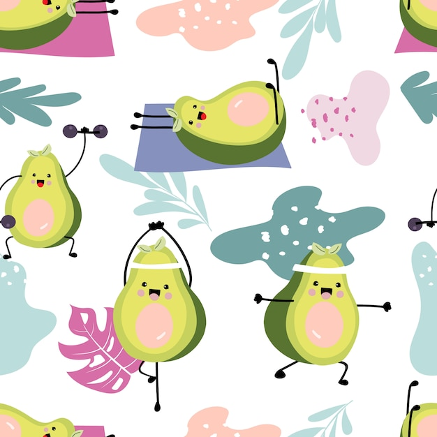 Avocado pattern with dumbbell Premium Vector