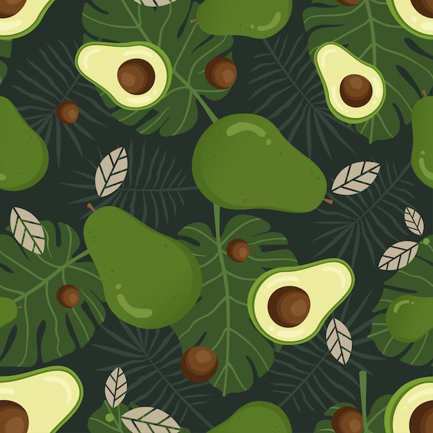 Avocado seamless pattern with tropical leaves Premium Vector