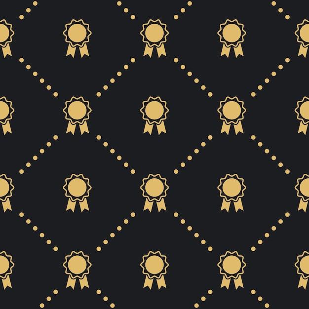 Award badge seamless pattern. design background vintage style. Free Vector