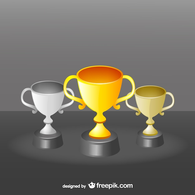 Award cups set Free Vector