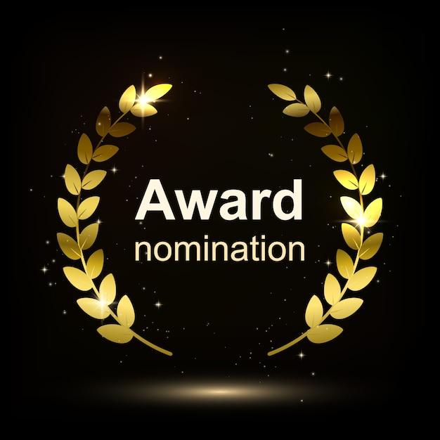 Award element isolation on darck background. winner nomination.  illustration. Premium Vector