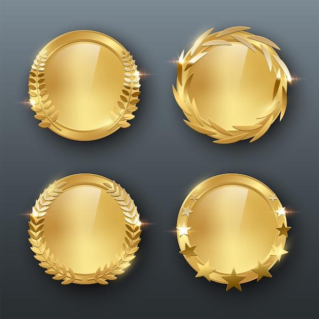 Награда золотые пустые медали реалистичные цветные иллюстрации на сером фоне Premium векторы