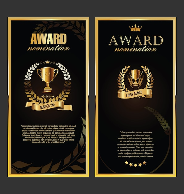 Награда золотой ретро баннер Premium векторы