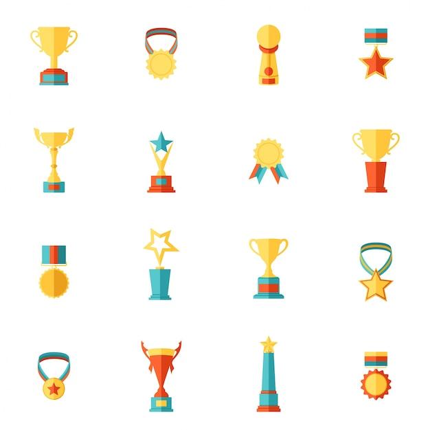 Award icons flat set of trophy medal winner prize champion