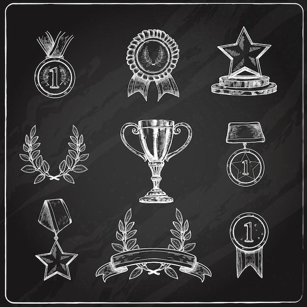 Award icons set chalkboard Free Vector