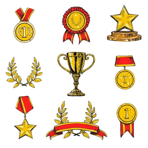 Значки награды цветные Бесплатные векторы