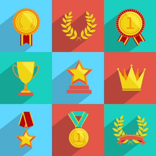 Award icons set colored Free Vector