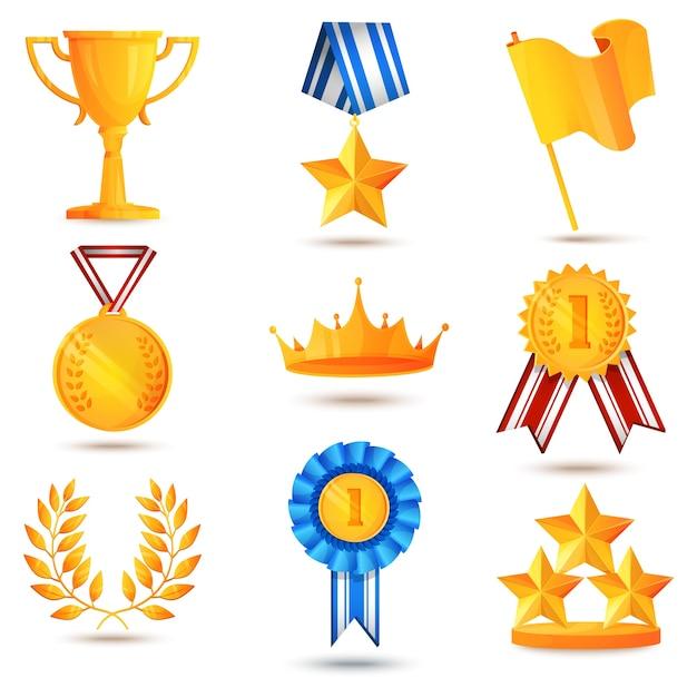 Award icons set Free Vector