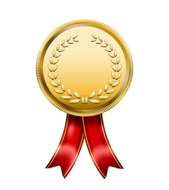 Medaglia premio con nastro rosso Vettore gratuito