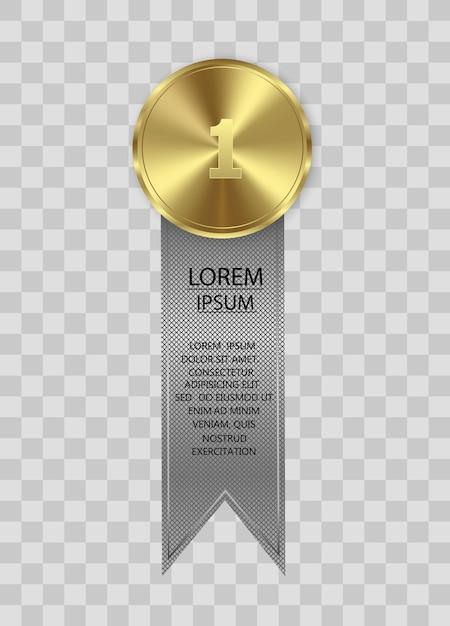 투명 한 배경에 고립 된 수상 메달입니다. 승자 개념. 프리미엄 벡터