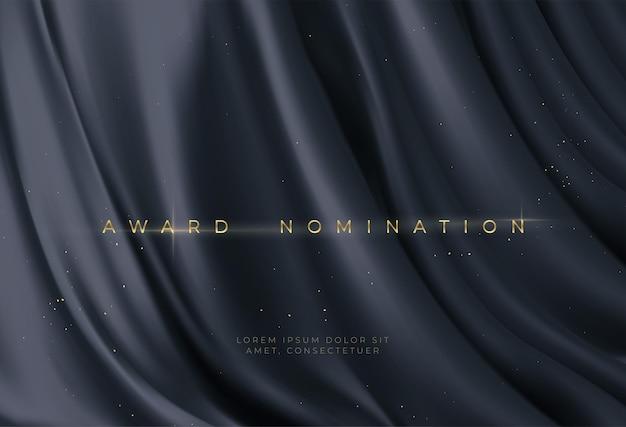 Award nomination on luxury black wavy background Free Vector