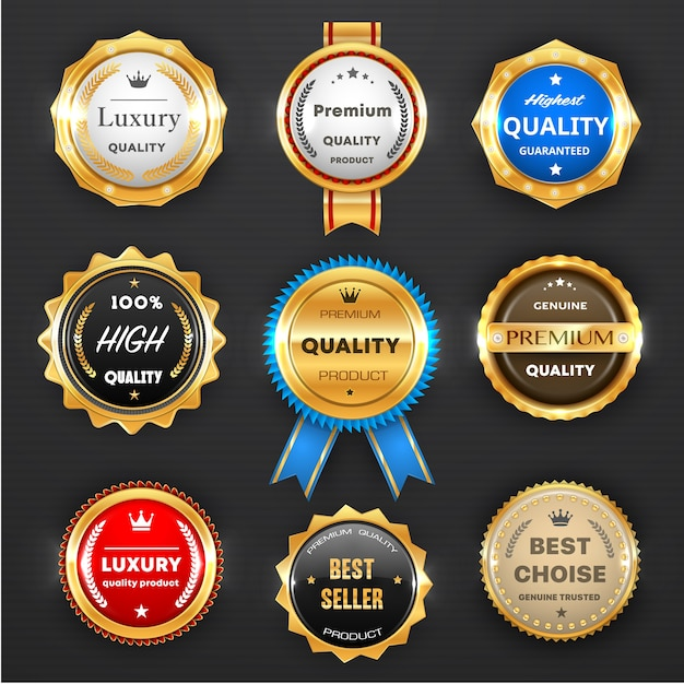 Award And Quality Labels Isolated Round