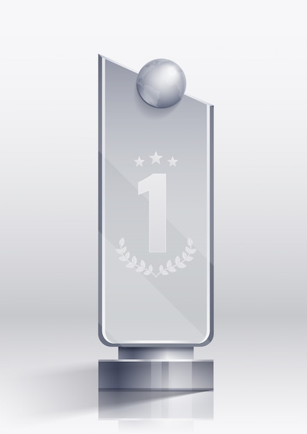 Award realistic concept with winner victory and pedestal symbols Free Vector
