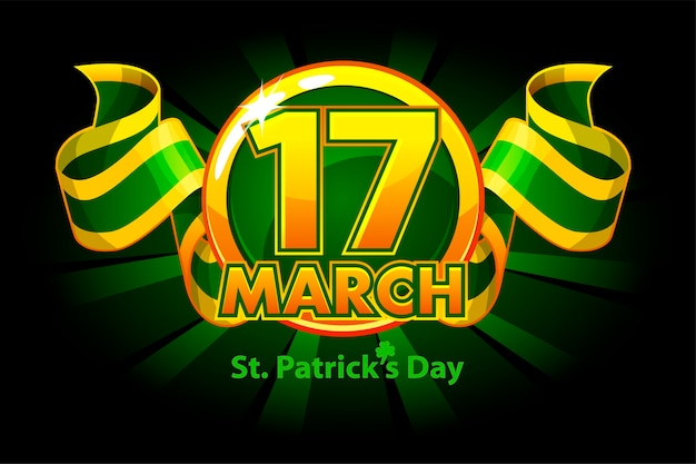 Award or reward with ribbon for st. patricks day. award with a holiday date for the winner. Premium Vector