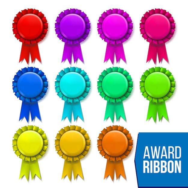 Award ribbon set Premium Vector