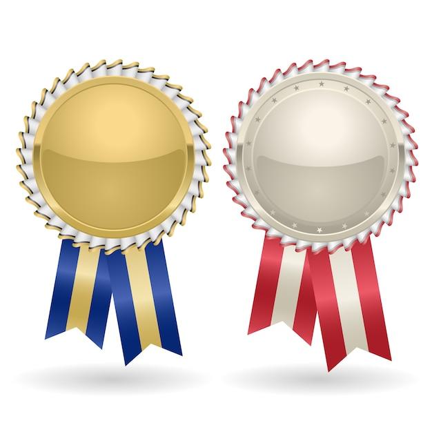 리본으로 장미 금색과 은색을 수상하십시오. 우승자 메달 라벨 상 휘장, 황금 배지 리본 프리미엄 벡터