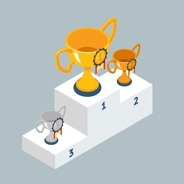 우승자 연단에 트로피 컵을 수여하십시오. 금은과 청동 잔. 프리미엄 벡터