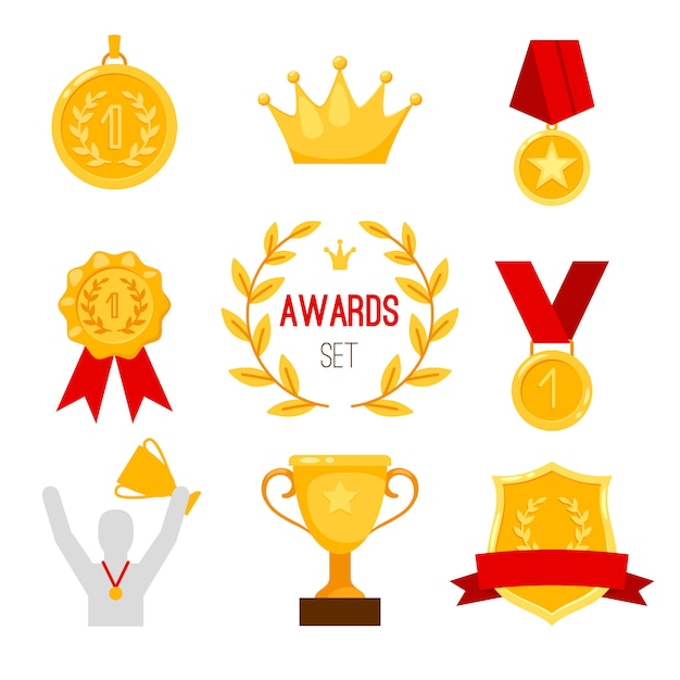 Award trophy and medal set Premium Vector