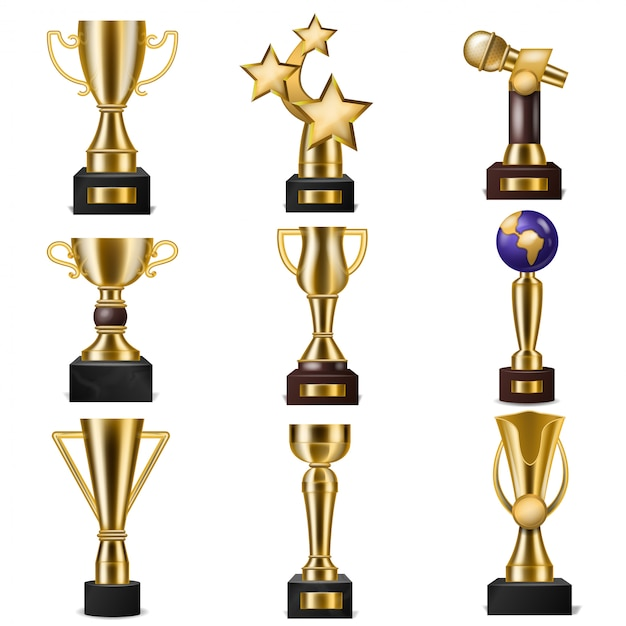 Award trophy vector winners prize golden trophycup for award-winning champion with reward for victory on competition illustration set of gold cup for first place isolated Premium Vector