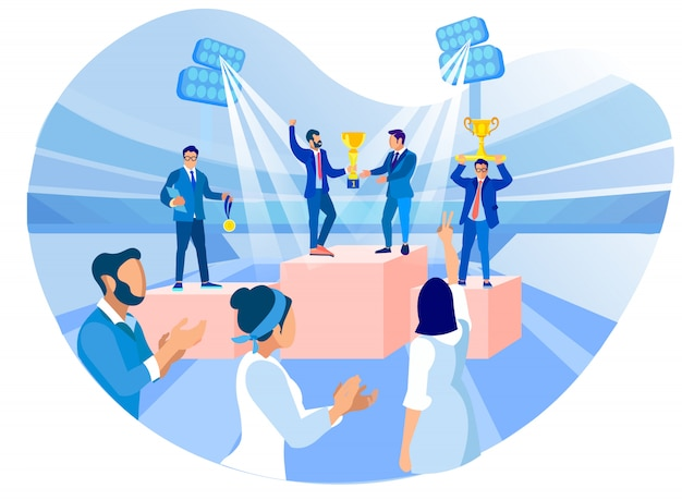 Award winners with cup in hand at business meeting Premium Vector