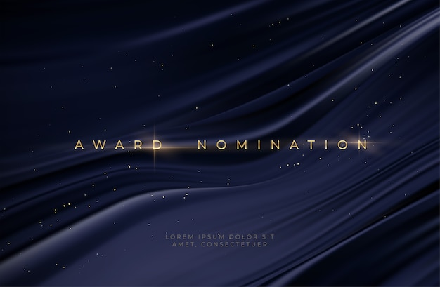 Awarding the nomination ceremony luxury black wavy background with golden glitter sparkles. Premium